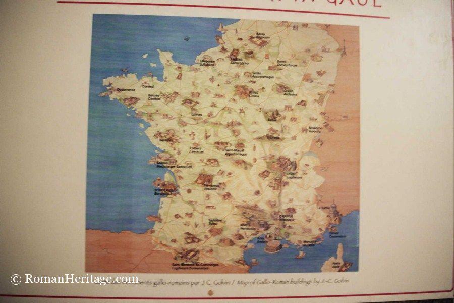 Map of gallo romain sites jc golvin mapa sitios galo romanos france francia gallo romain sites j c golvin map mapag gumiabroncs Images